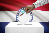 Voting concept - Ballot box with US state flag on background - Missouri — Stock Photo