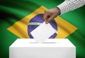 Ballot box with national flag on background - Brazil — Stock Photo