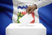 Voting concept - Ballot box with Canadian province flag on background - Northwest Territories — Stock Photo