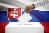 Ballot box with national flag on background - Slovakia — Stock Photo