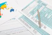 US 1040 Tax Form and silver ball pen over it — Stock Photo