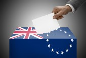 Ballot box painted into national flag colors - Cook Islands — Stock Photo