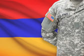 American soldier with flag on background - Armenia — Stock Photo