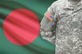 American soldier with flag on background - Bangladesh — Stock Photo