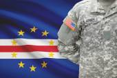 American soldier with flag on background - Cape Verde — Stock Photo