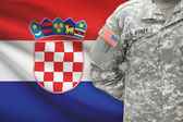 American soldier with flag on background - Croatia — Stock Photo