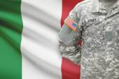 American soldier with flag on background - Italy — Stock Photo
