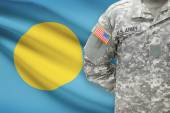 American soldier with flag on background - Palau — Stock Photo