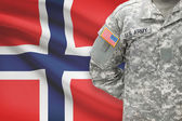 American soldier with flag on background - Norway — Stock Photo