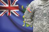 American soldier with flag on background - Pitcairn Group of Islands — Stock Photo