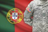 American soldier with flag on background - Portugal — Stock Photo
