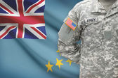American soldier with flag on background - Tuvalu — Stock Photo