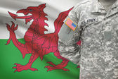 American soldier with flag on background - Wales — Stock Photo