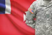 American soldier with flag on background - Wallis and Futuna — Stock Photo