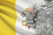 American soldier with flag on background - Vatican City — Stock Photo