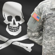 American soldier with flag on background - Jolly Roger - symbol of piracy — Stock Photo #63567889