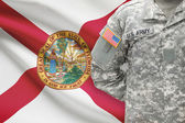 American soldier with US state flag on background - Florida — Stock Photo