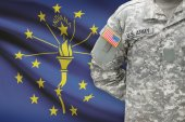 American soldier with US state flag on background - Indiana — Stock Photo
