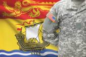 American soldier with Canadian province flag on background - New Brunswick — Stock Photo