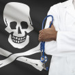 Concept of national healthcare system - Jolly Roger as piracy symbol — Stock Photo #63947571