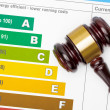 Wooden judge gavel over colorful efficiency chart - view from top — Stock Photo #64996039