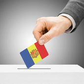 Voting concept - Male inserting flag into ballot box - Andorra — Stock Photo