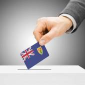Voting concept - Male inserting flag into ballot box - Turks and — Stock Photo