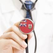 Státní vlajka na koncepční řady stetoskop - Bermudy — Stock fotografie