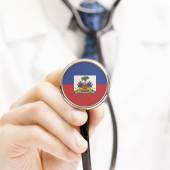 National flag on stethoscope conceptual series - Haiti — Stock Photo