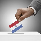 Black male holding flag. Voting concept - Paraguay — Stock Photo