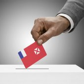 Black male holding flag. Voting concept - Wallis and Futuna — Stock Photo