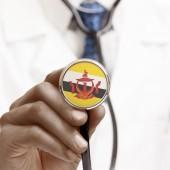 Stetoscopio con serie concettuale di bandiera nazionale - Brunei — Foto Stock