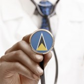 Stethoscope with national flag conceptual series - Saint Lucia — Foto de Stock