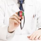 Doctor holding stethoscope with flag series - Afghanistan — Stock Photo