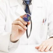 Doctor holding stethoscope with flag series - Pitcairn Island — Stock Photo