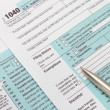 US 1040 Tax Form and silver ball pen — Stock Photo #68248223