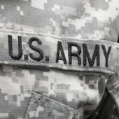 USA flag and US Army patch on solder's uniform — Stock Photo