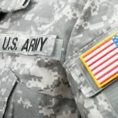Studio shot of US flag shoulder patch on solder's uniform — Stock Photo