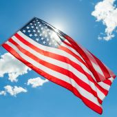 USA flag with clouds - outdoors shoot — Stock Photo