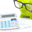 Stock market charts with piggy bank and calculator over it - studio shot — Stock Photo #69537453