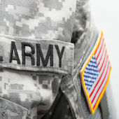 USA flag and U.S. Army patch on solder's uniform — Stock Photo