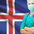 Surgeon with national flag on background series - Iceland — Stock Photo #70743783