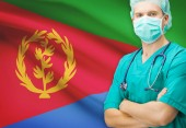 Surgeon with national flag on background series - Eritrea — Stock Photo