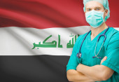 Surgeon with national flag on background series - Iraq — Stock Photo