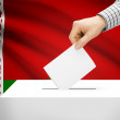 Ballot box with national flag on background - Belarus — Stock Photo #71451527