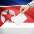 Ballot box with national flag on background - North Korea — Stock Photo #71451773