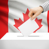 Ballot box with national flag on background - Canada — Stock Photo
