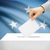 Ballot box with national flag on background - Federated States of Micronesia — Stock Photo