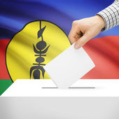 Ballot box with national flag on background - New Caledonia — Stock Photo
