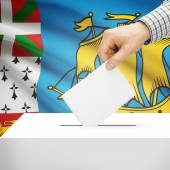 Ballot box with national flag on background - Saint-Pierre and Miquelon — Stock Photo